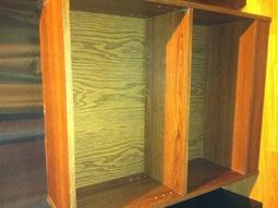Wood grain bookshelves